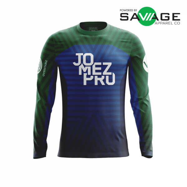 Male - Course Stripes Long Sleeve Jersey (Blue) - Front