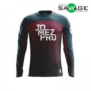 Male - Course Stripes Long Sleeve Jersey (Red) - Front