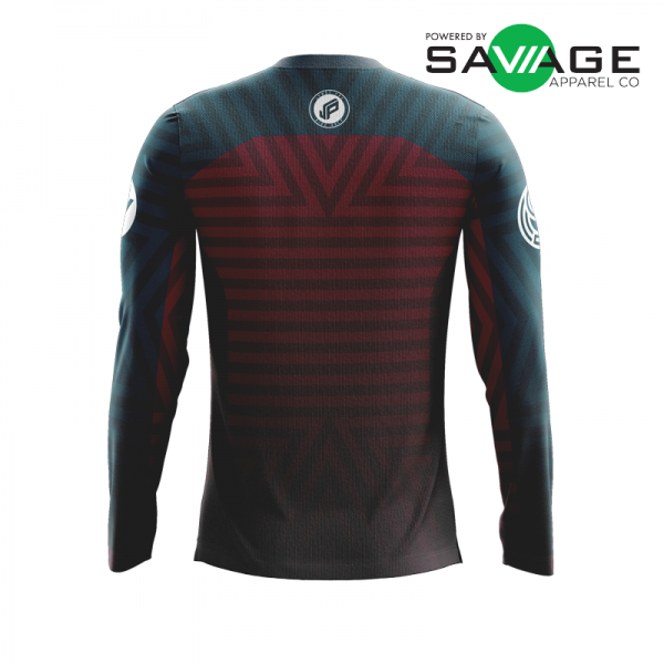 Male - Course Stripes Long Sleeve Jersey (Red) - Back