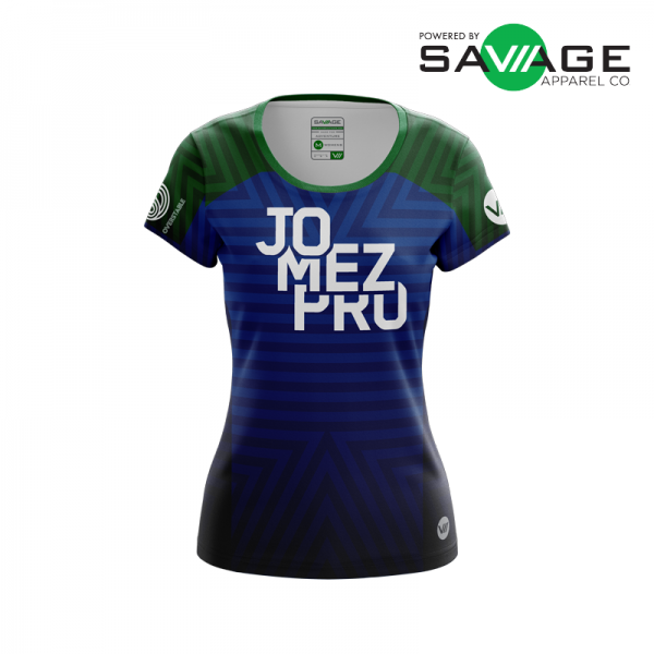 Female - Course Stripes Jersey (Blue) - Front