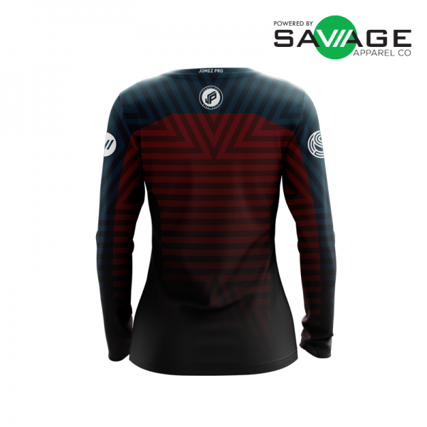Female - Course Stripes Long Sleeve Jersey (Red) - Back