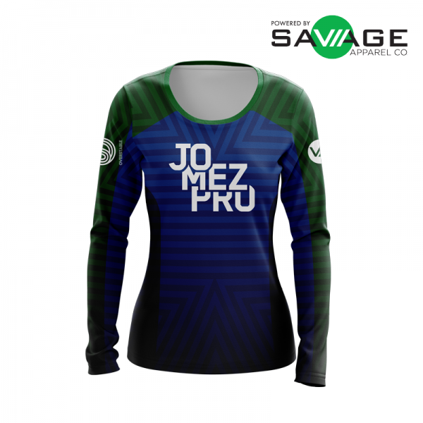 Female - Course Stripes Long Sleeve Jersey (Blue) - Front