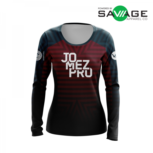 Female - Course Stripes Long Sleeve Jersey (Red) - Front
