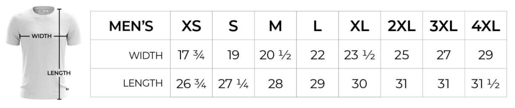 Jomez Pro Men's Jersey Sizing Chart
